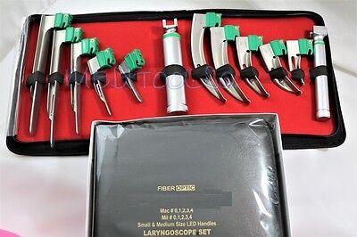 Set Of 10 German Fiber Optic Mac Miller Laryngoscope Blade2 Handle Intubaton