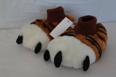 NEW Toddler Boys House Shoes Small 5 - 6 Slip On Tiger Paws Slippers Non - Toddler Tiger