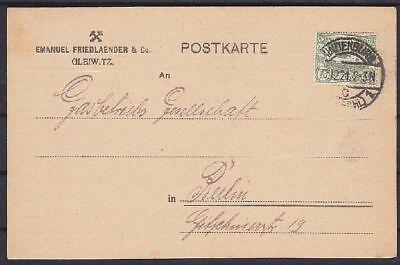 Oberschlesien Mi Nr. 21 EF Firmen Karte Verladung, Hindenburg - Berlin 1921