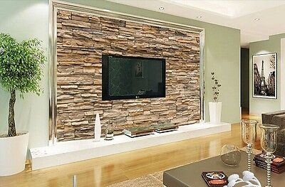 3d stone roll modern brick wall background wall wallpaper for Brick effect wallpaper living room ideas