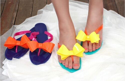 New-Womens-Ribbon-Jelly-Shoes-Flip-Flops-Sandals-Yellow-Orange-Size-S-M-L