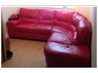 Red real leather 5 seat corner suite