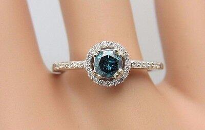 14K White Gold Blue Diamond Ring 0.43 CT