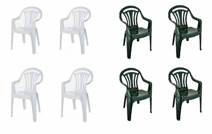 garden chairs - 2,4,6 Plastic Low Back Armchair Patio Outdoor Garden Chairs Party Camping Picnic