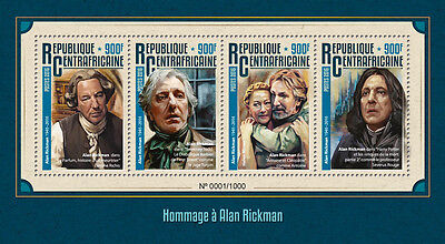 Cent African Rep 2016 MNH Alan Rickman 4v M/S Severus Snape Harry Potter Stamps