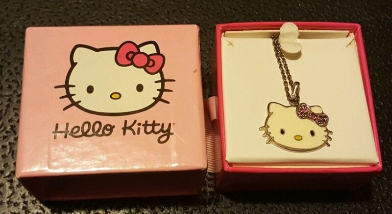 Hello Kitty Necklace STERLING SILVER pink TOURMALINE ** NEW ** necklace