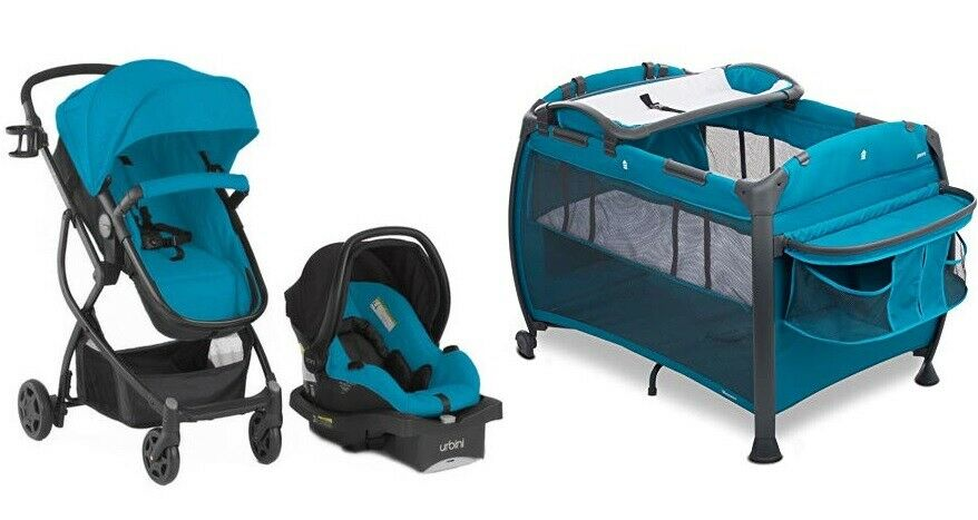 Blue Urbini Baby Combo Set Stroller with Car Seat Infant Pla