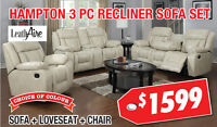 Hampton 3pc LeathAire Recliner Set Now On Sale For $1599