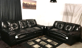 * New / Ex showroom Dfs ex display black real leather 3+2 seater sofas