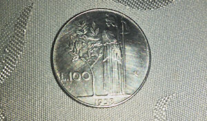 1958 Italy 100 lire coin