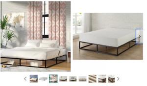 Queen bed frame - cadre de lit - platform bed unopened wayfair