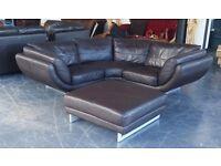 HUGE DFS Brown Leather Corner Sofa&HUGE Footstool.WE DELIVER