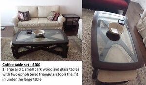 Coffee table set with stools - quality furniture good as new