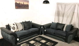 ^ Dfs Black and grey 3+2 seaters sofas
