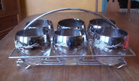 MID CENTURY 6 ROUND TUMBLERS SILVER IMPRINT IN CADDY - MINT!