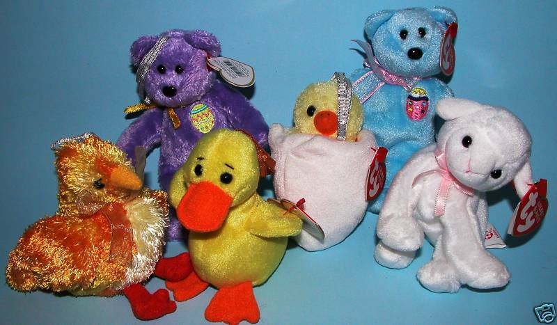 TY, Easter Jingle Beanie, 6 pc set, bear, lamb, duck, chicks, New, with tags