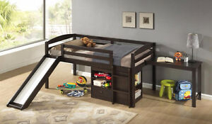 LOFT BUNKBED WITH 2 STOARAGE CHESTS & SLIDING DESK