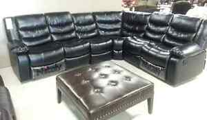 4 pcs Sectional sofa set with 2 Recliner Leather  New $1399.  ..