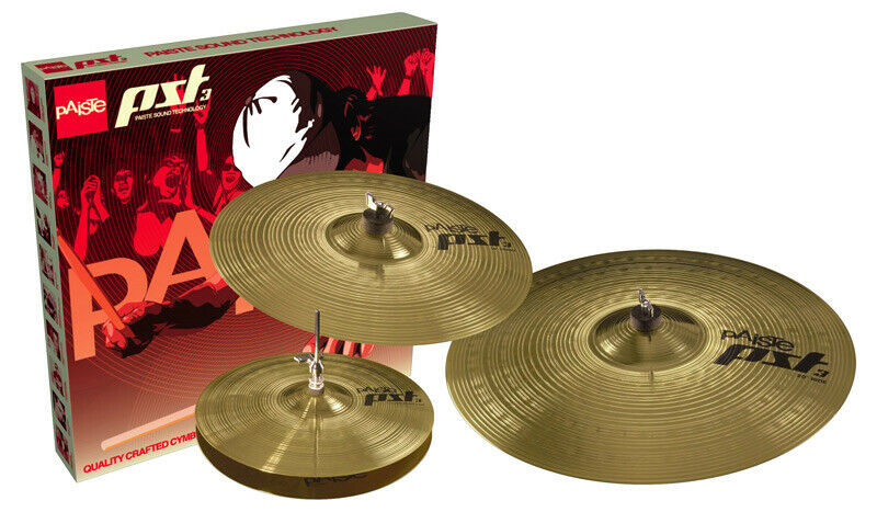 Paiste PST3 Cymbal Set, 14 Inch Hi-Hat,16 Inch Crash, 20 Inch Ride (NEW)
