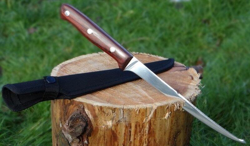 Filetiermesser Fischmesser Filiermesser Angelmesser 310mm lang mit Nylonholster