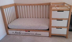 Graco convertible crib to queen bed with mattress.