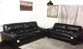 • Black Real leather 3+2 seater sofas
