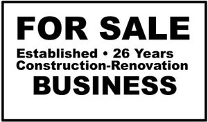 EST. CONSTRUCTION-RENOVATION BUSINESS for sale
