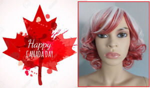 BRAND NEW Deluxe Curly Red & White CANADA DAY Cosplay Wig