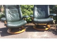 Pair of Ekornes Green Leather Stressless Reclining Armchairs
