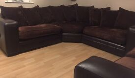 Chocolate brown leather corner sofa with matching 2 seater