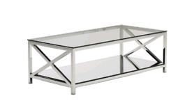 Beautiful glass and stainless steel large coffee table
