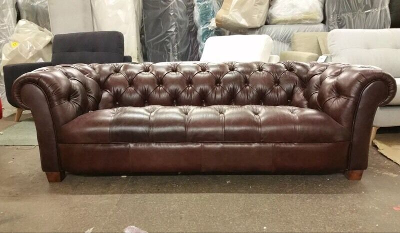 Brown Leather John Lewis Todd Grand Three Seater Sofa