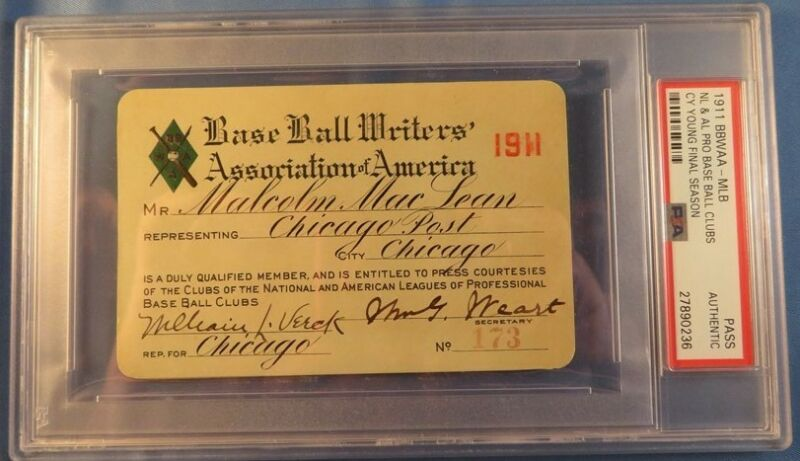 1911 Cy Young Last  Season/GM/Last Win #511 Ticket  Pass PSA Boston Ruslers NL