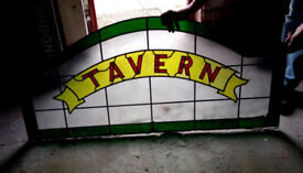 STAINED GLASS TAVERN PUB SIGN: XMAS PRESENT - MICROPUB, HOME BAR, MAN CAVE, BREWERIANA, SHED BREW