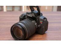 Canon 650d; body, kit lens (18-55mm) , 55-250mm zoom lens and lens hood