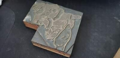 Vintage Letterpress Printers Block Santa Claus Metal Wood Stamp 3 12x4x78