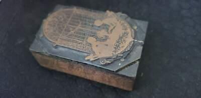 Vintage Letterpress Printers Block Couple Metal Wood Stamp 2 38x1 12x78