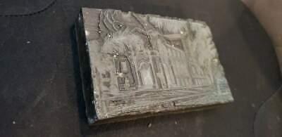 Vintage Letterpress Printers Block Palace Metal Wood Stamp 5x3 14x78