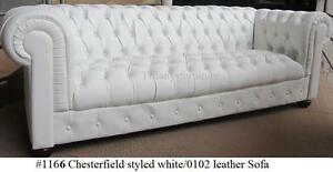 Gorgeous Chesterfield Style Modern White top grain premium Leather Sofa #1166