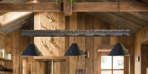 Rustic Country Chandelier Industrial Wood 3 Light Pool Table Light Fixture