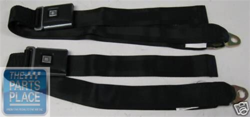 1971 & UP GM Deluxe Style Buckle Lap Seat Belts Pair Black