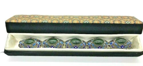 Antique Chinese Export Silver Enameled Dark Green Jade Bracelet w/ Original Box