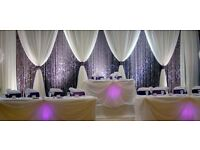 Wall Draping/ Venue Draping/ Backdrop/ Uplighting/LED Mood light/Wedding Venue Decorations!