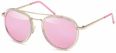 Damen Piloten Sonnenbrille Cat Eye Vintage Katzenauge Rosagold Verspiegelt B1103