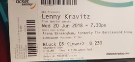 Lenny Kravitz Concert Arena Birmingham 20th June 2018 [2 Seated Tickets]