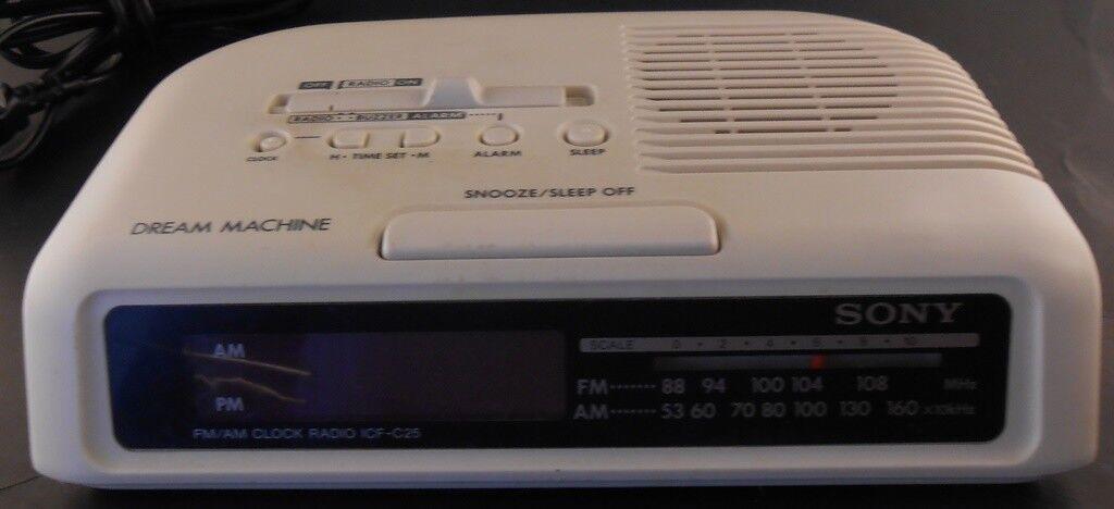 Sony ICF-C25 White Dream Machine AM/FM Digital Alarm Clock Radio Snooze Buzzer