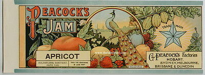 PEACOCK'S Vintage Apricot Jam Can Label, ***AN ORIGINAL 1890's TIN CAN LABEL***