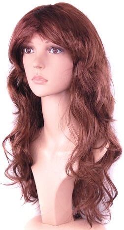 New Women s Sexy Long Curly Brown Fancy Dress Wigs Cosplay Costume Ladies  Full Wig. f3f896651