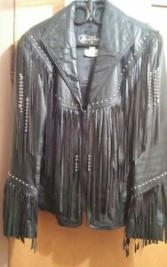 UNISEX Fringed and Studded Leather Jacket