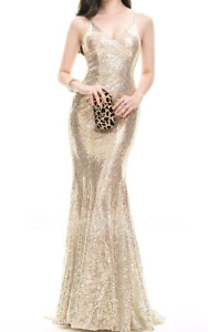 Champagne Trumpet/Mermaid V-neck Sweep Train Sequined Dress